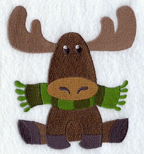 A moose is bundled up in a scarf.