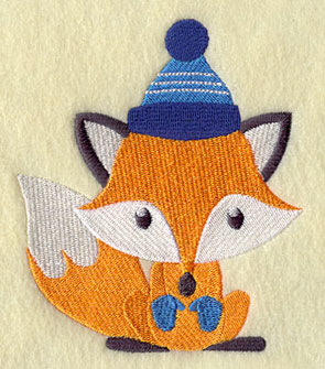 A fox wears a hat and mittens.