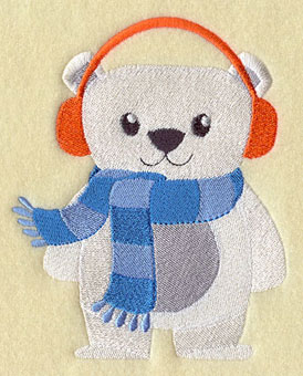 A polar bear in earmuffs and scarf machine embroidery design.