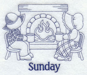 Sunday Days of the Week Bluework design with Sunbonnet Sue and Fisherman Fred.