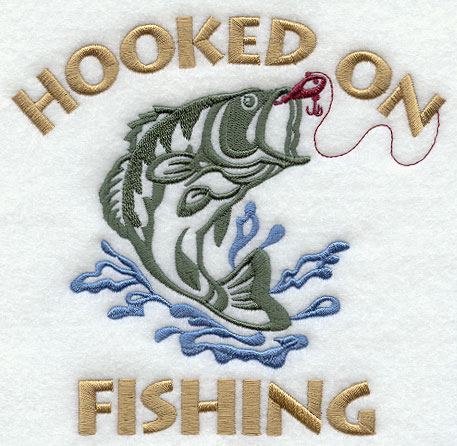 Machine embroidery designs at embroidery library for Hooked on fishing