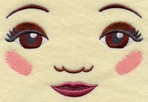 machine embroidered dolls faces