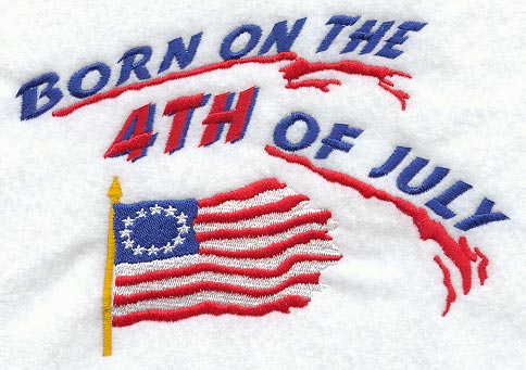 Born On The 4th Of July Cards Machine Embroid...