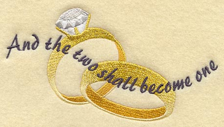a pair of wedding rings with the words and the two shall become one