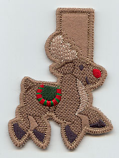 An in-the-hoop Rudolph clothespin cozy.