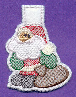 An in-the-hoop Santa Claus clothespin cozy.