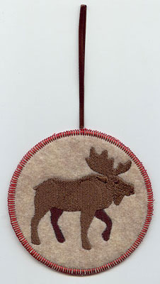 A Northwoods moose in-the-hoop Christmas ornament.