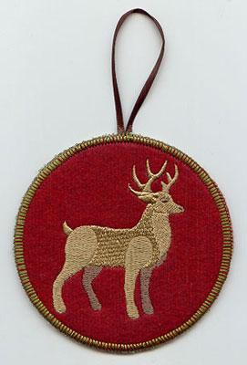 A Northwoods deer in-the-hoop Christmas ornament.