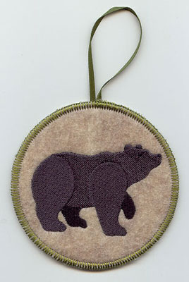 A Northwoods bear in-the-hoop Christmas ornament.