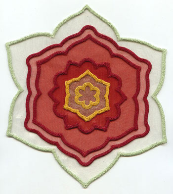 3D in-the-hoop applique poinsettia machine embroidery design.