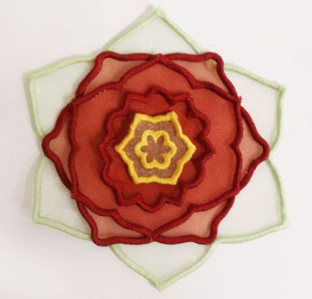 3D applique poinsettia machine embroidery design.