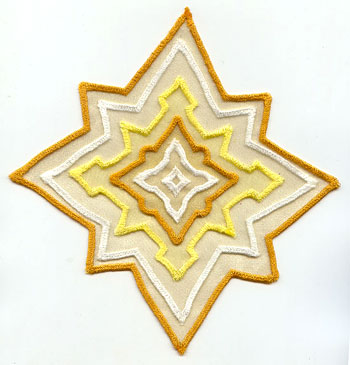 3D in-the-hoop applique star machine embroidery design.