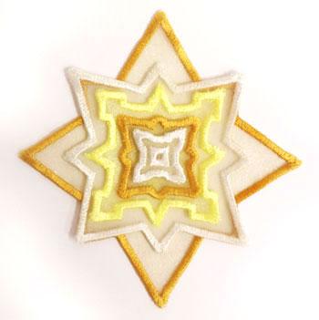 3D applique star machine embroidery design.