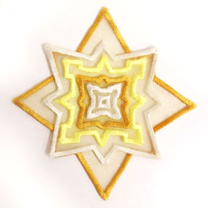 3D applique star machine embroidery design.