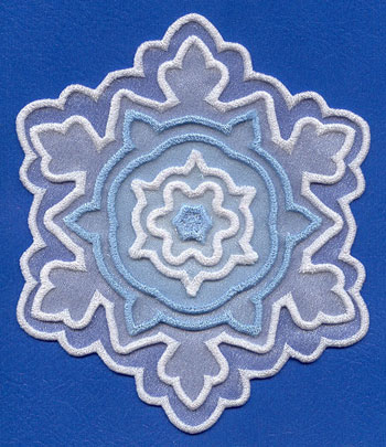 3D in-the-hoop applique snowflake machine embroidery design.
