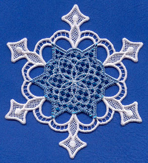 A Mylar and lace Christmas snowflake.