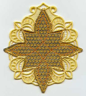 A Mylar and lace Christmas star.