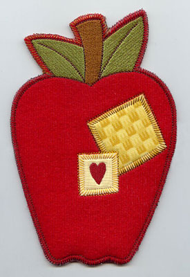 Apple in-the-hoop utensil holder machine embroidery design.