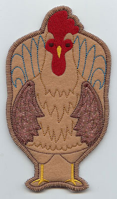 Rooster in-the-hoop utensil holder machine embroidery design.