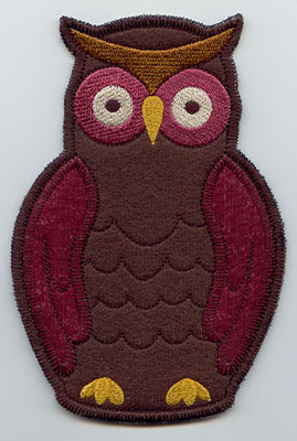 Owl in-the-hoop utensil holder machine embroidery design.