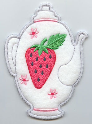 Tea pot in-the-hoop utensil holder machine embroidery design.