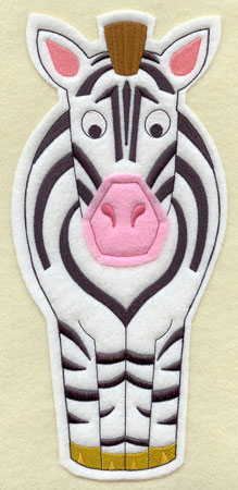 Crafty cut applique zebra front.