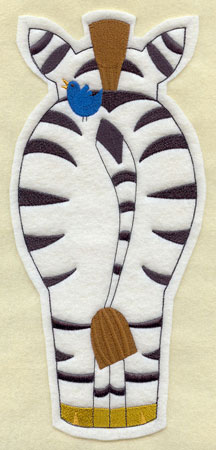Crafty cut applique zebra back.
