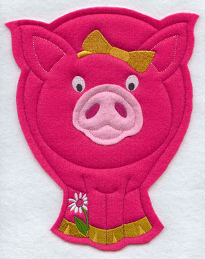 Crafty cut applique pig front.