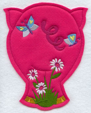 Crafty cut applique pig back.