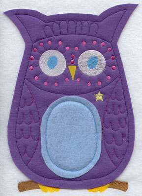 Crafty cut applique owl front.