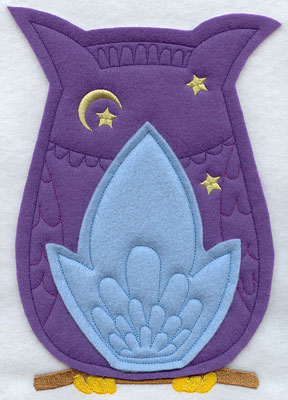 Crafty cut applique owl back.