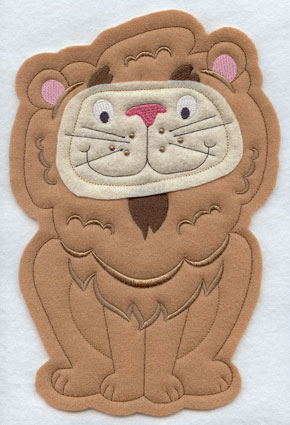 Crafty cut applique lion front.