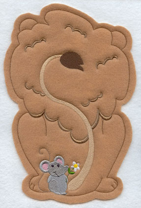 Crafty cut applique lion back.