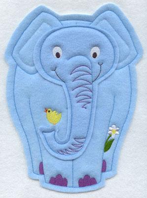 Crafty cut applique elephant front.