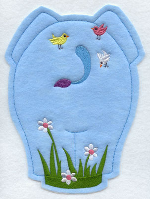 Crafty cut applique elephant back.