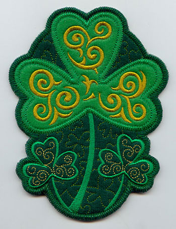 An in-the-hoop St. Patrick's day Irish shamrock utensil or silverware holder.
