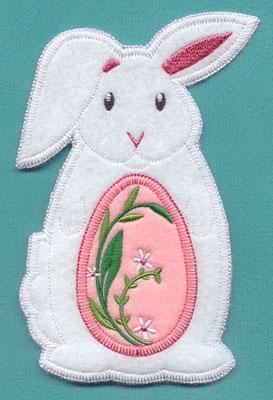 An in-the-hoop rabbit and Easter egg utensil holder.