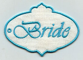 "An in-the-hoop gift tag that says ""Bride."""