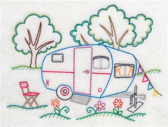 New Camping Set Applique Design