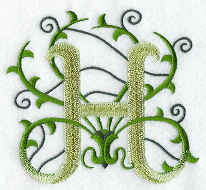 H Letter In Different Style Vines Letter H - 5 inch