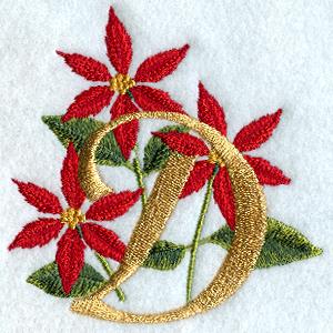 Poinsettia Letter D - 4 inch