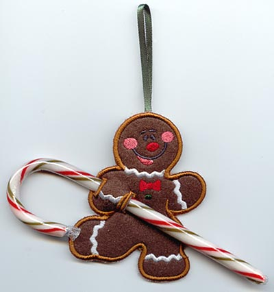 Gingerbread Man Candy Cane Holder (In-the-Hoop)