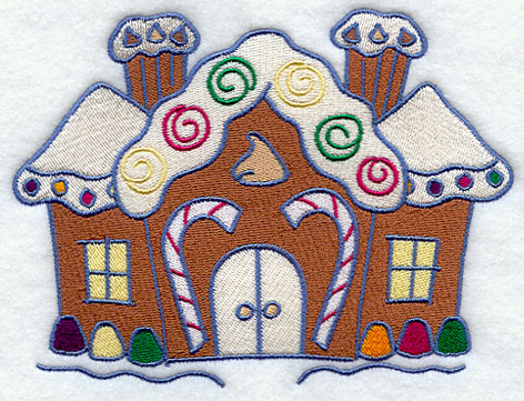 Embroidery Designs - Applique Gingerbread House 4x4 5x7 6x10