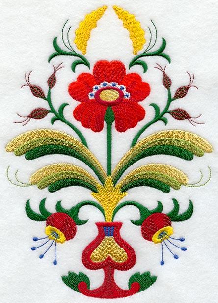 German folk art machine embroidery designs flowers was specially