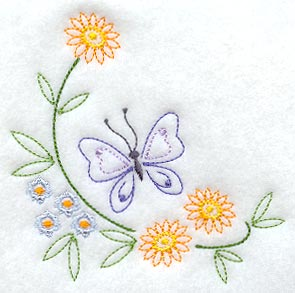 Vintage Kitchen Design on Designs At Embroidery Library    Butterfly And Flower Corner  Vintage