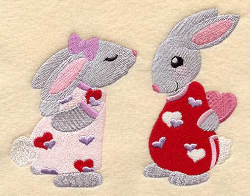 Bunnies in Valentine Pajamas
