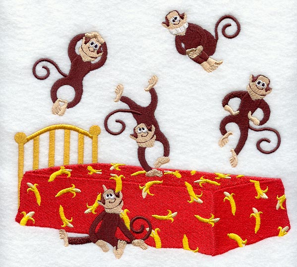 Five little monkeys, jumping on the bed. One fell off and bumped his ...