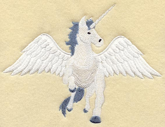 This design features a unicorn with wings spread wide,