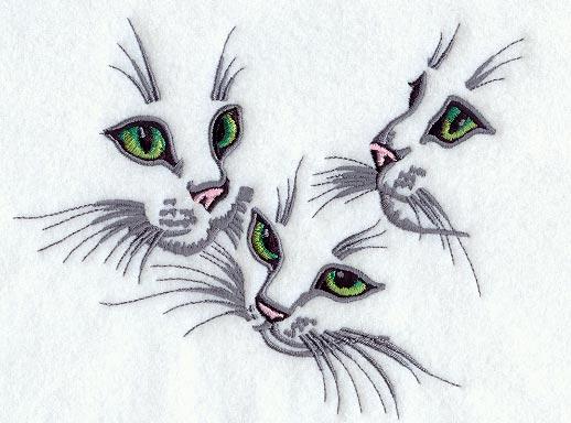 Контурная вышивка кошек 33
