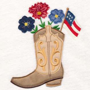 Request of the Week - Cowboy Boot With Flowers and American Flag